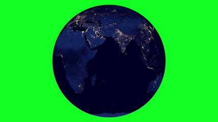 Earth at night Rotation Chroma Key Looped ( 4k )