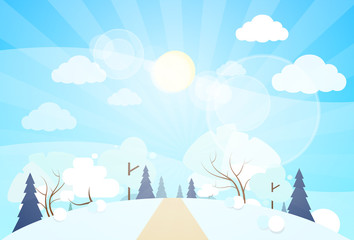 winter forest landscape Christmas, pine snow trees woods
