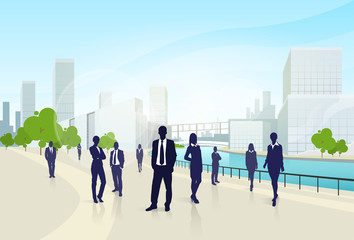 business people group city landscape office buildings