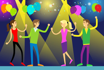 people dance in night club party flat design