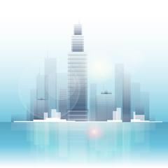 City skyscraper view cityscape background skyline
