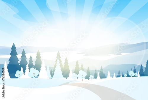 winter mountain landcape flat icon vector - 76384549