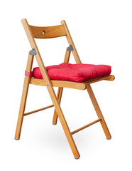 Wooden folding chair with pad