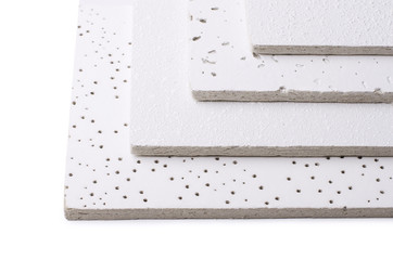 Samples of suspended ceiling tiles