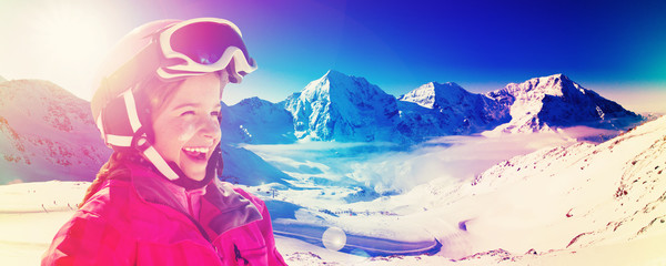 Skiing, panorama - girl enjoying ski vacation