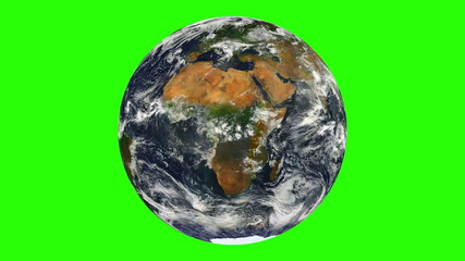 Earth with Clouds  Rotation Chroma Key Looped