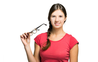 Young teacher holding her glasses