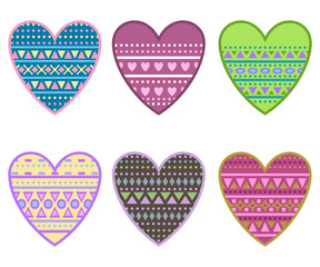 hearts with geometrical ornament