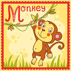 Illustrated alphabet letter M and monkey.