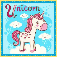 Illustrated alphabet letter U and unicorn.