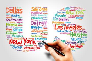 US cities names words cloud, business concept