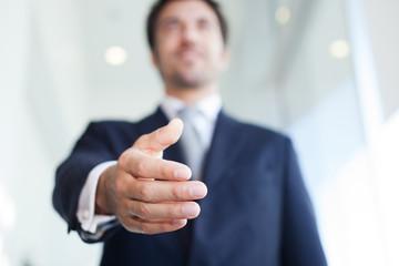Handshake. Selective focus