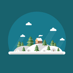 Nature - winter landscape. Flat design style.