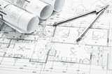 Construction planning drawings poster
