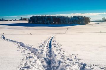 Spuren im Tiefschnee im bayrischen Winter