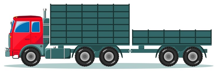 Truck with trailer, Vector Illustration