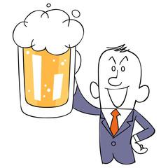 ビールを掲げるサラリーマン