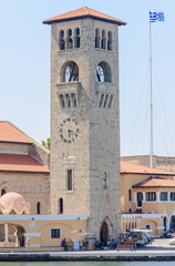 The bell tower of the Church of the Annunciation. New Town. Rhod