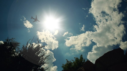 Plane Fying Through the Sun