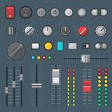 vector various design buttons switchers sliders indicators set .