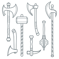 vector outline cold medieval weapons set