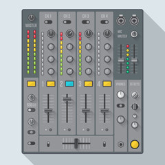 vector flat design sound dj mixer with knobs sliders
