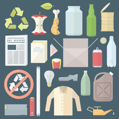 vector flat design icons signs separate collection waste