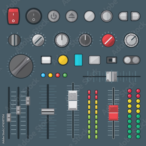 vector various design buttons switchers sliders indicators set . - 76387556