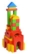 Tower with natural colored toy blocks