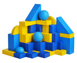 Futuristic house with natural colored toy blocks