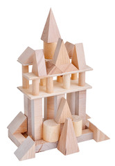 Tower with natural toy blocks on white background