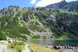 Lake in mountains (Czarny Staw in Tatras, Poland) - 76388145