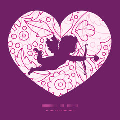 Vector pink flowers lineart shooting cupid silhouette frame