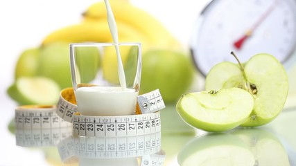 diet food spilled milk glass, fruit Apple meter scales