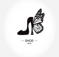 Logo shoe store, shop, fashion collection, boutique label.