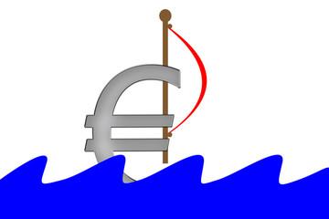 Euro Symbol mit Segel schwimmt im Wasser mit Wellen