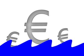 Euro Symbole schwimmen auf Wasser