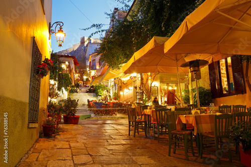 Fotobehang Athene Streets of Plaka in centre of Athens, Greece.