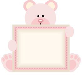Cute teddy bear holding blank sign for baby girl announcement