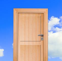 Door, blue sky.