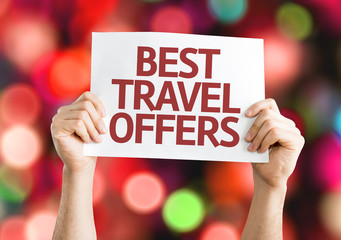 Best Travel Offers card with colorful background