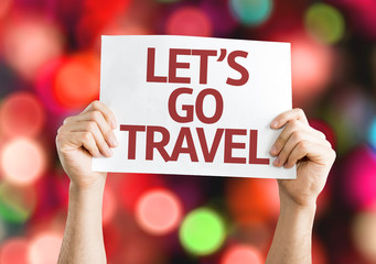 Lets Go Travel card with colorful background