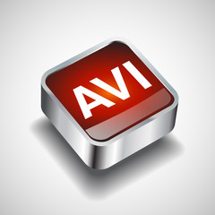 Video File format AVI icon isolated background