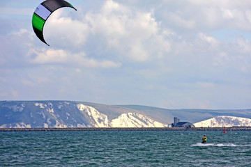 kitesurfer in Portland Harbour