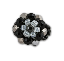 Black and white crystal cluster ring