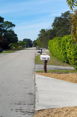 mailboxes lining street in rural florida
