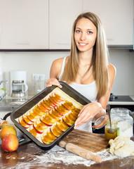 housewife preparing a dessert
