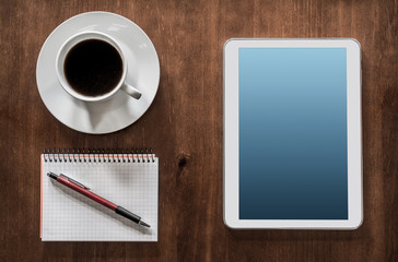 Business Work With Tablet, Coffee And Notepad