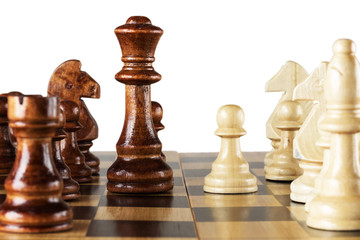 Wooden chess on chess board