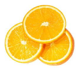 Orange slices isolated on the white background